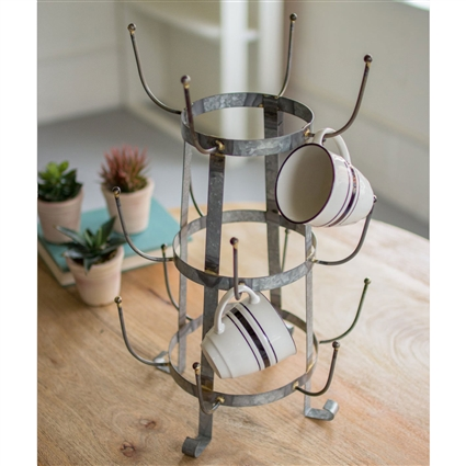 Pictured here is the galvanized farmhouse mug rack