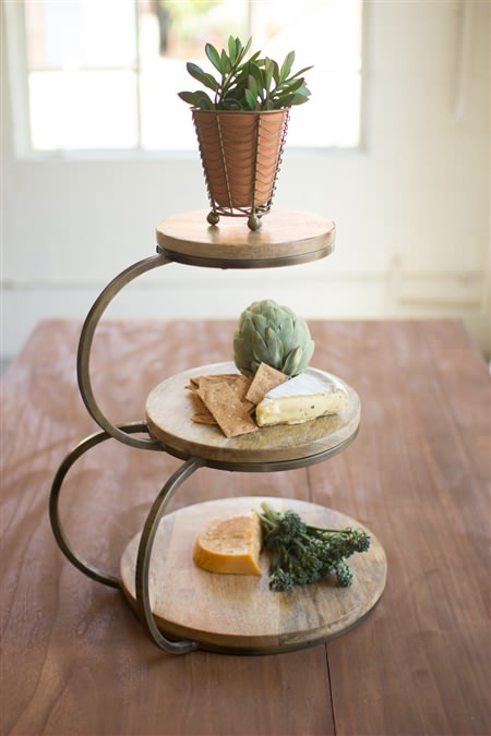 Three Tier Mango Wood And Iron Serving Stand
