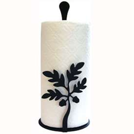 Wrought Iron Acorn Paper Towel Stand with Black Iron Finish.