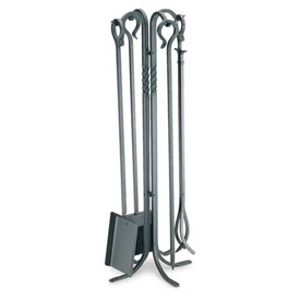 Wrought Iron 5 Piece Lodge Fireplace Tool Set by Pilgrim