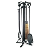 Wrought Iron 5 Piece Vintage Fireplace Tool Set by Pilgrim