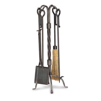 Wrought Iron 5 Piece Traditional Fireplace Tool Set by Pilgrim