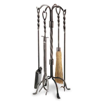 Wrought Iron 5 Piece Twisted Rope Fireplace Tool Set by Pilgrim