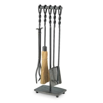 Wrought Iron 5 Piece Soldier Row Fireplace Tool Set by Pilgrim