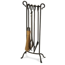 Wrought Iron 5 Piece Bowed Fireplace Tool Set by Pilgrim