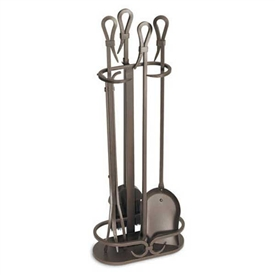 Wrought Iron 5 Piece Iron Gate Fireplace Tool Set (Burnished Bronze) by Pilgrim