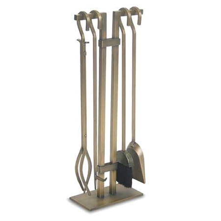 Pictured here is the Distressed Bronze Sinclair Fireplace Tool Set with Stand, Ash Sovel and Broom, Fire-Poker, and Tongs from Pilgrim