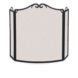 Pictured here is the Wrought Iron 3 Panel Arch Bow Fireplace Screen with 8 or 12 inch deep side panels