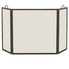 Pictured here is the Iron 3 Panel Rectangular Fireplace Screen with 8-inch side panels.
