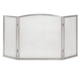 Pictured here is the Newport Stainless Steel 3 Panel Fireplace Screen Screen with an arched center and 12 inch side panels.
