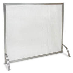 Pictured here is the Newport Fireplace Screen featuring a stainless steel finish.