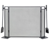 Pictured here is the Blackshear 3 Panel Fireplace Screen with hanging tools.