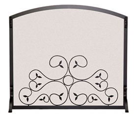 Picture here is the Single Panel Applique Scroll Fireplace Screen by Pilgrim hearth.