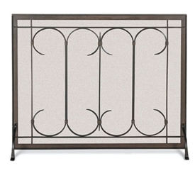 Pictured here is the Single Panel Iron Gate Fireplace Screen by Pilgrim