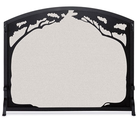 Pictured here is the Single Panel Grand Oak Iron Fireplace Screen that measures 39 inches wide x 33 inches tall