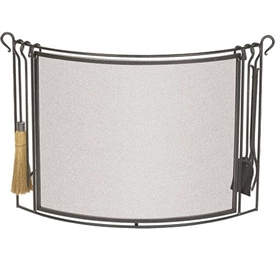 Pictured here is the Bowed Iron Fireplace Screen with integrated hearth tool set by Pilgrim Home and Hearth.