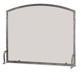 Pictured here is the hand-forged Single Panel Old World Arch Fireplace Screen by Pilgrim Home and Hearth