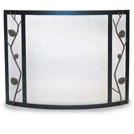 Pictured here is the Bowed Artisan Pine Cone Fireplace Screen by Pilgrim Home and Hearth