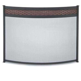 Wrought Iron Bowed Basket Weave Fireplace Screen by Pilgrim