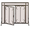 "Pictured here is the Iron Gate Fireplace Screen with Doors available in 2 sizes 39""W x 31""H and 44""W x 33""H"