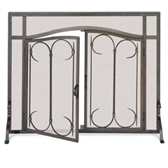 "Pictured here is the Iron Gate Fireplace Screen with Arched Doors available in 2 sizes 39""W x 31""H and 44""W x 33""H"