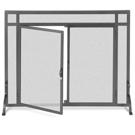 Pictured Here is the Wrought Iron Flat Fireplace Screen with Doors by Pilgrim