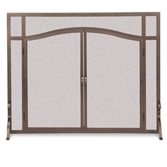Pictured here is the Wrought Iron Flat Fireplace Screen with Arched Doors by Pilgrim