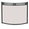 "Pictured her is the Wrought Iron Bowed Portfolio Fireplace Screen available in 2 sizes, 39"" x 31""; or 44"" x 31"" with a black finish."