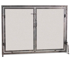 "Pictured here is the Wrought Iron Old World Flat Fireplace Screen with Doors in a Forged Iron Finish that measures 42""W x 31""H."