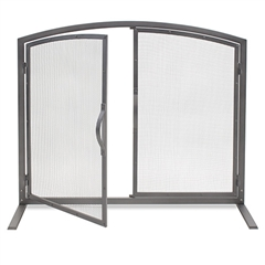 Pictured here is the Shadow Iron Door Fireplace Screen with full size doors.
