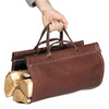 Pictured here is the Leather Fire Wood Carrier with Canvas Liner from Pilgrim Home and Hearth