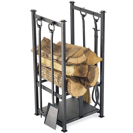 Pictured here is the Craftsman Fireplace Hearth Center by Pilgrim with tools, heavy duty wood holder and lower shelf from Pilgrim.