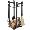 Picture here is the Forged Iron Fireplace Hearth Center with four tools, wood holder, and kindling shelf from Pilgrim.