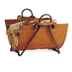 Pictured here is the Suede Leather Firewood Carrier with Iron Stand from Pilgrim