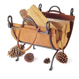 Pictured here is the Folding Suede Leather Firewood Carrier with folding iron stand from Pilgrim