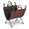 Pictured her is the Anvil Firewood Carrier with canvas lined leather carrier with iron stand from pilgrim home and hearth.