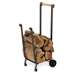 Pictured here is the Forged Iron Firewood Cart with in vintage iron finish and a solid wood handle from Pilgrim Home and Hearth.