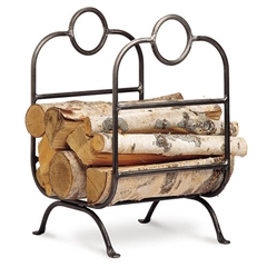 Pictured here is the Forged Iron Firewood Holder with single piece construction and a vintage iron finish.