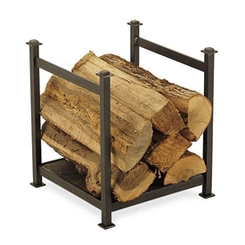 Pictured here is the Craftsman Firewood Holder with natural stone base and vintage iron frame finish.
