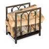 Pictured her is the Iron Gate Firewood Holder with elegant accents in a compact 14.25 x 10.5 x 14.5 size.