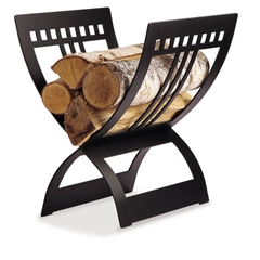 Pictured here is the modern style Portfolio Firewood Holder with a sleek matte black iron finish.