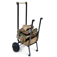 Pictured here is the Super Duty Firewood Cart in vintage iron finish,  with large pneumatic wheels.