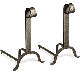 Pictured here are the Colonial Fireplace Andirons with a vintage iron finish.