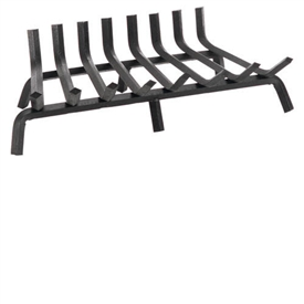 Pictured here is the heavy duty 8 bar 27.5-in wide Wrought Iron Fireplace Grate also available in 6 bar 22.5-in width.