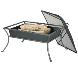 Pictured here is the Outdoor Fire Pit with Mesh Ember Cover.