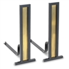 Pictured here are the Grand Tower Modern Andirons with iron frame and brass inset for decoration