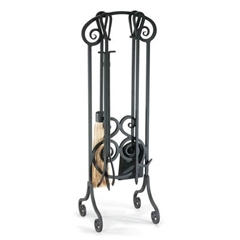 Wrought Iron 5 Piece Antique Scroll Fireplace Tool Set by Napa Forge