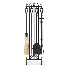 Wrought Iron 5 Piece Country Scroll Fireplace Tool Set by Napa Forge
