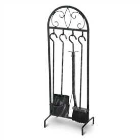 Wrought Iron 5 Piece Forged Crest Fireplace Tool Set by Napa Forge