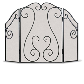 Wrought Iron 3 Panel Antique Scroll Fireplace Screen by Napa Forge